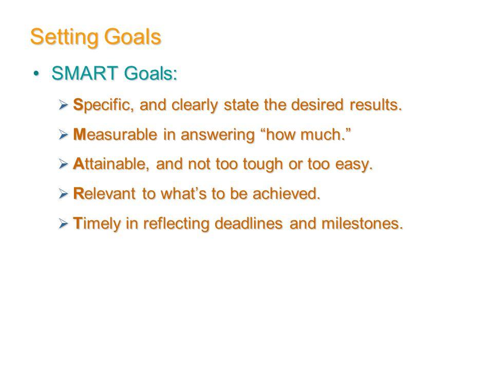 Setting Goals SMART Goals: