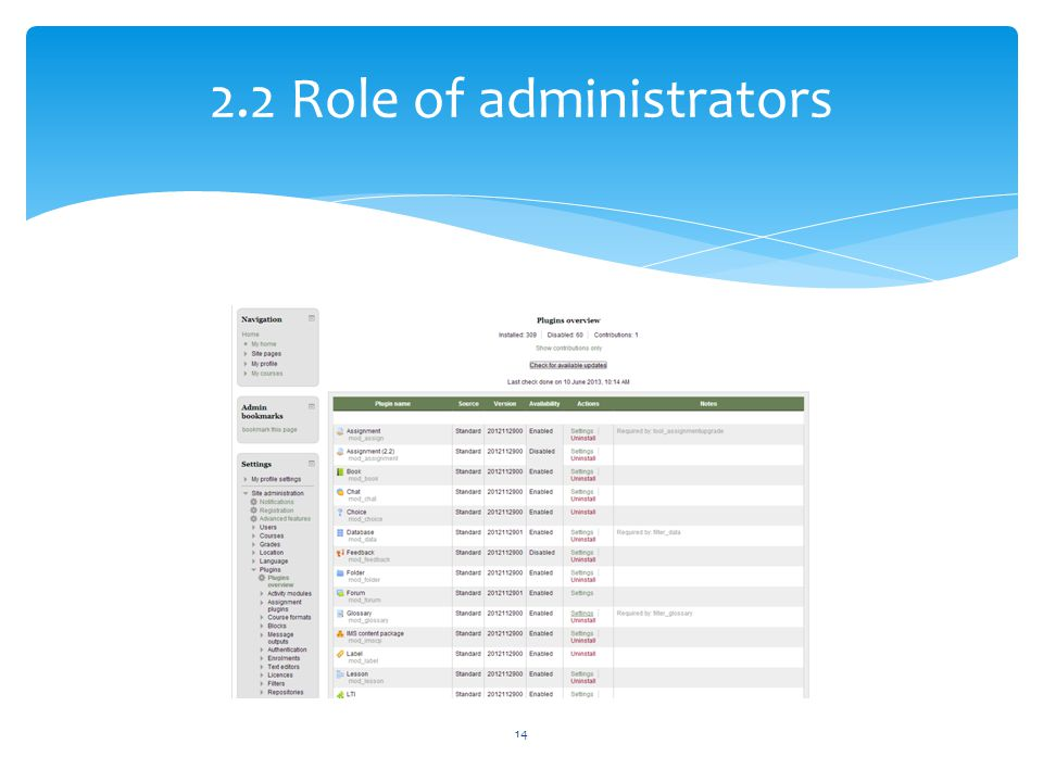 2.2 Role of administrators
