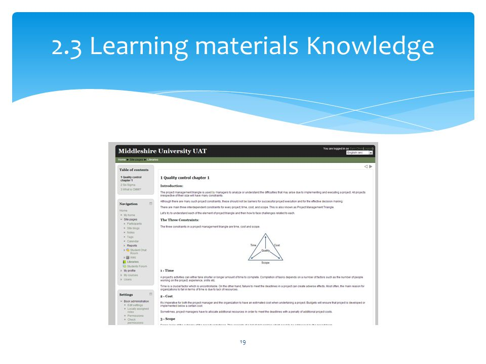 2.3 Learning materials Knowledge