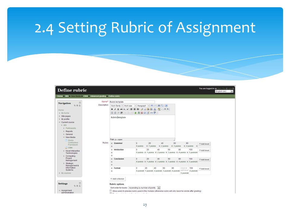 2.4 Setting Rubric of Assignment