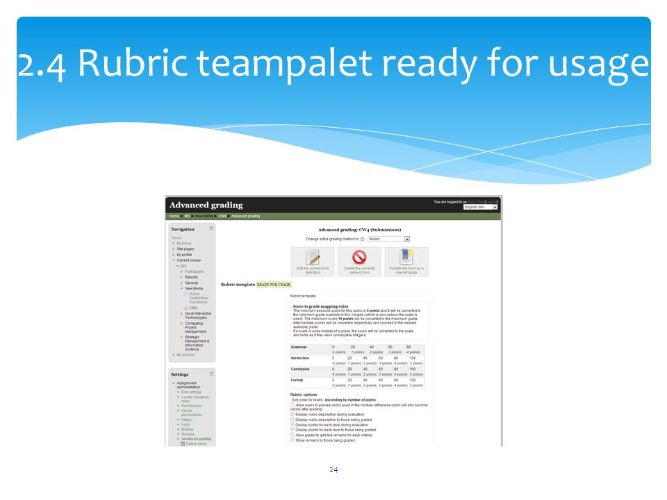 2.4 Rubric teampalet ready for usage