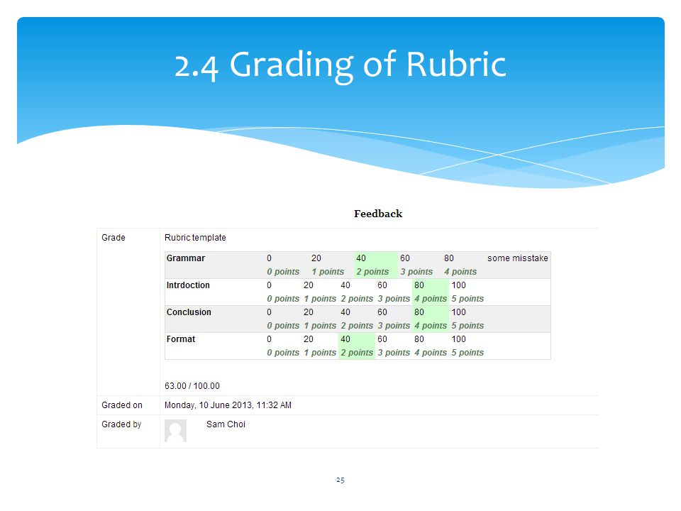 2.4 Grading of Rubric