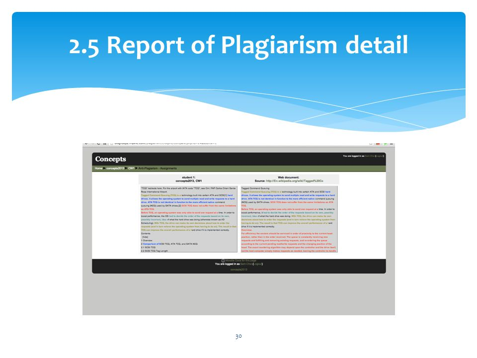 2.5 Report of Plagiarism detail