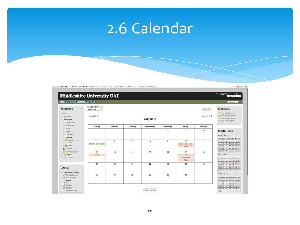 2.6 Calendar