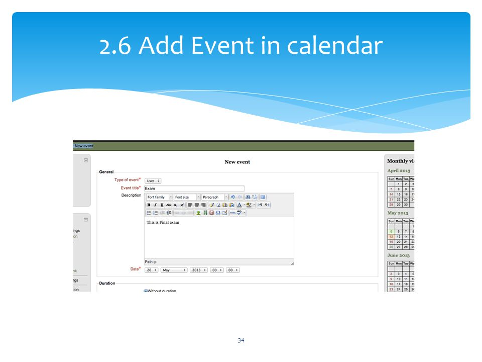 2.6 Add Event in calendar