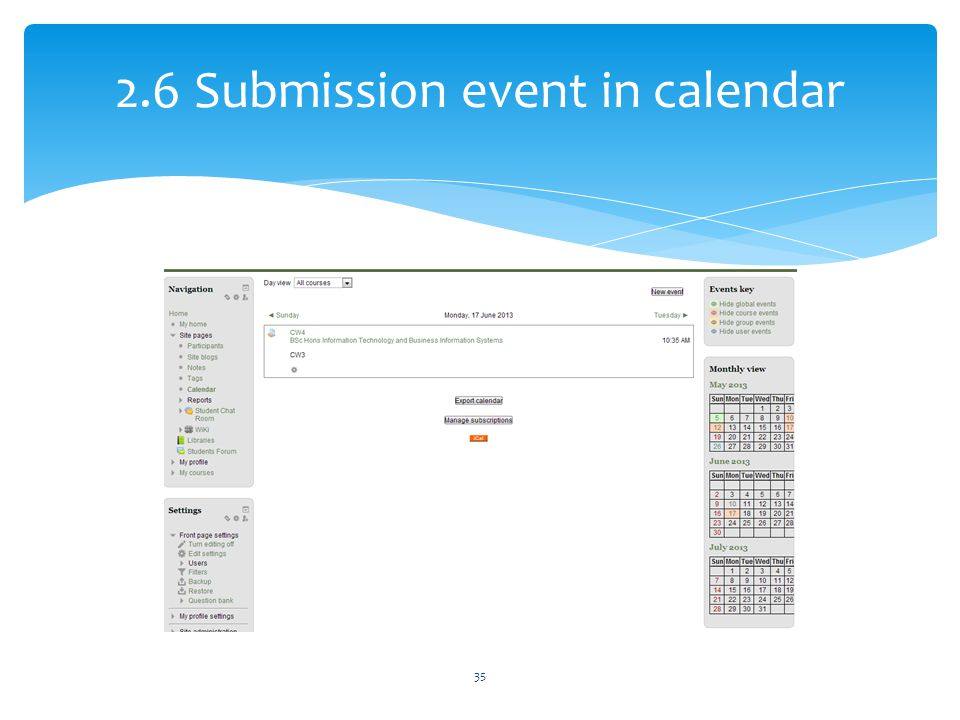 2.6 Submission event in calendar