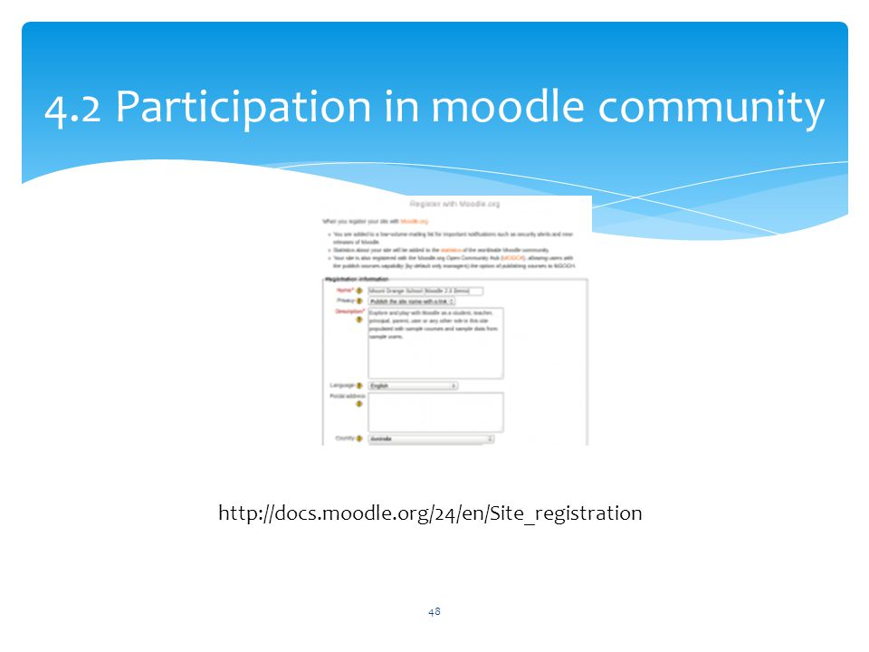 4.2 Participation in moodle community