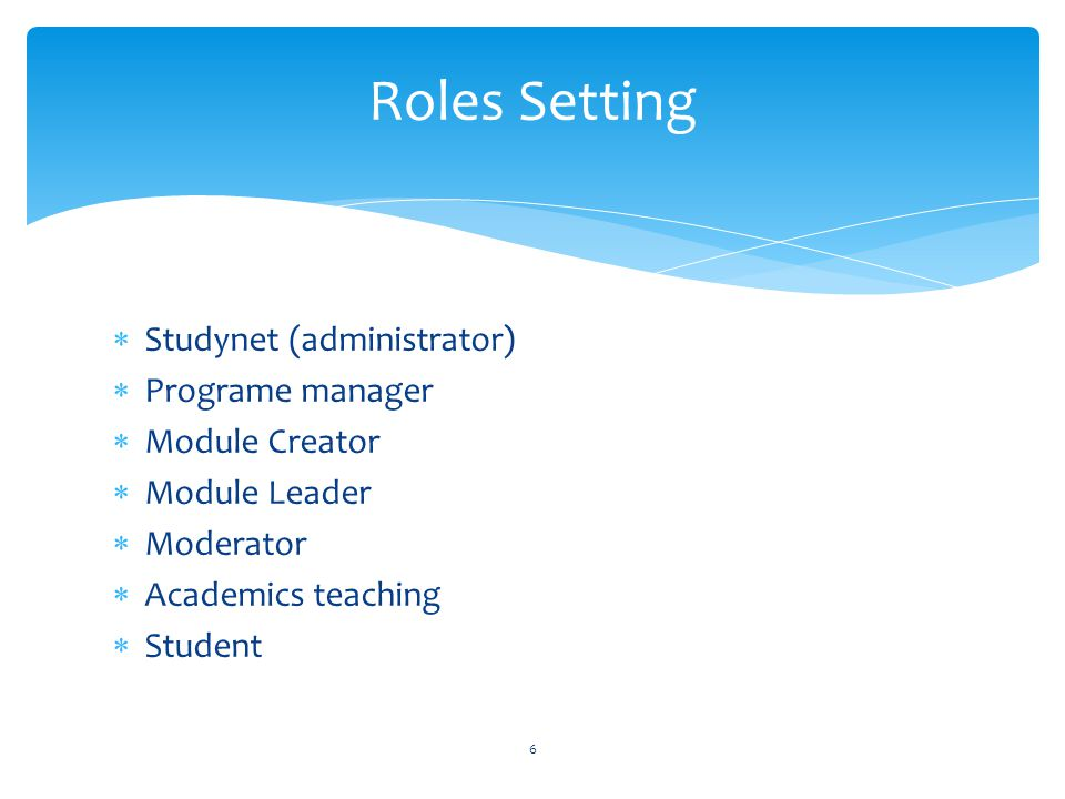 Roles Setting Studynet (administrator) Programe manager Module Creator