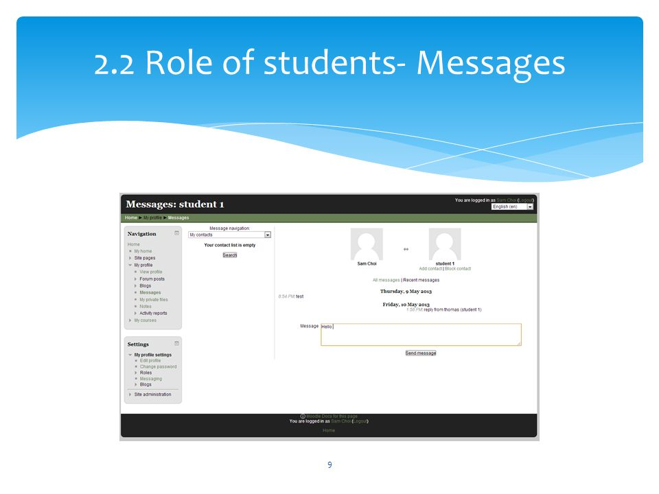 2.2 Role of students- Messages