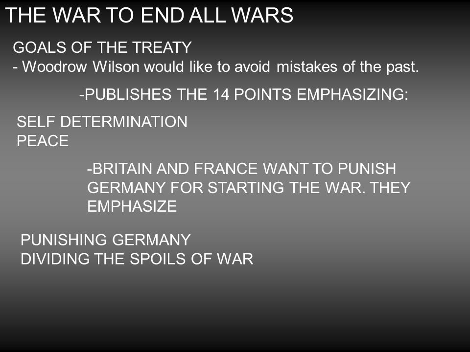 THE WAR TO END ALL WARS GOALS OF THE TREATY - Woodrow Wilson would like to avoid mistakes of the past.