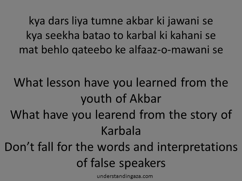 What lesson have you learned from the youth of Akbar