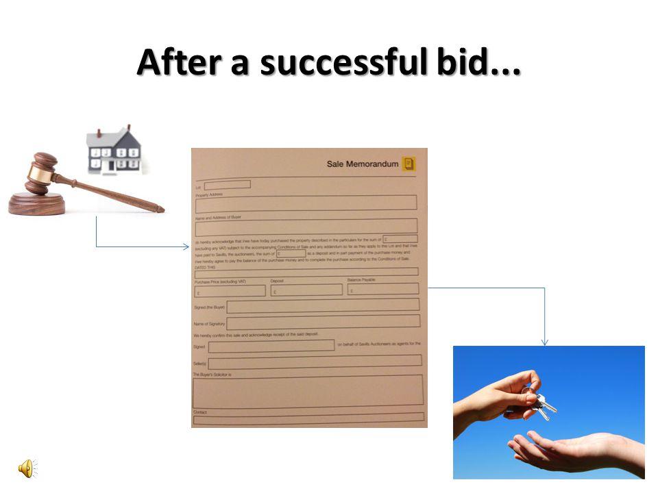 After a successful bid...