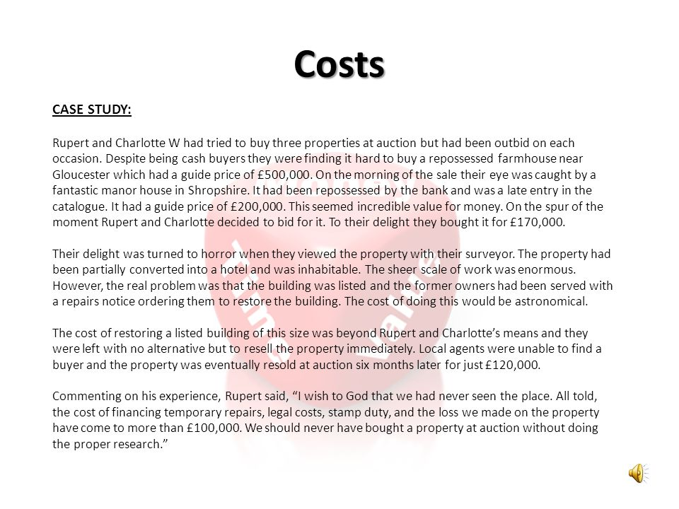 Costs CASE STUDY: