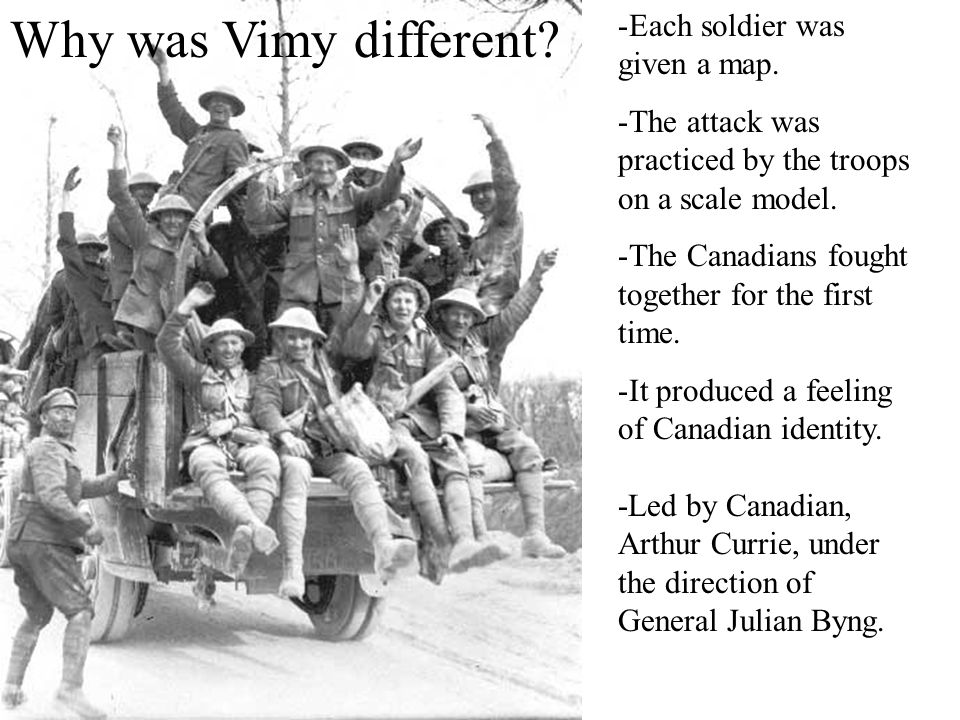 Why was Vimy different Each soldier was given a map.