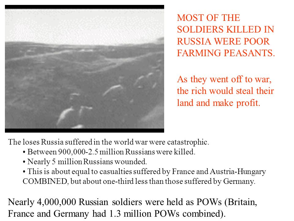 MOST OF THE SOLDIERS KILLED IN RUSSIA WERE POOR FARMING PEASANTS.