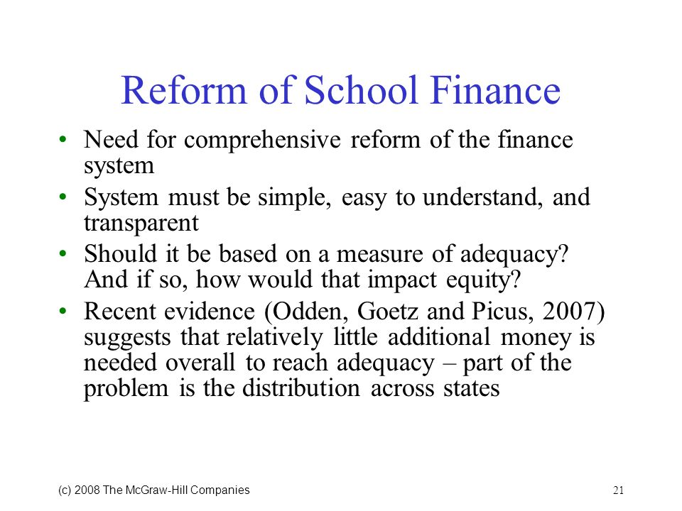 Reform of School Finance