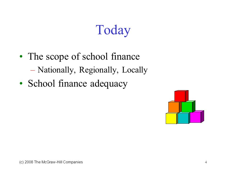 Today The scope of school finance School finance adequacy