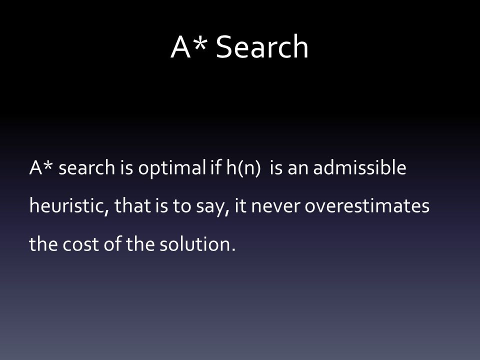 A* Search A* search is optimal if h(n) is an admissible heuristic, that is to say, it never overestimates the cost of the solution.