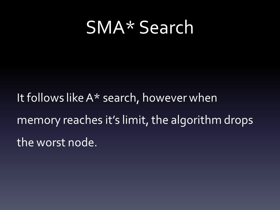SMA* Search It follows like A* search, however when memory reaches it's limit, the algorithm drops the worst node.