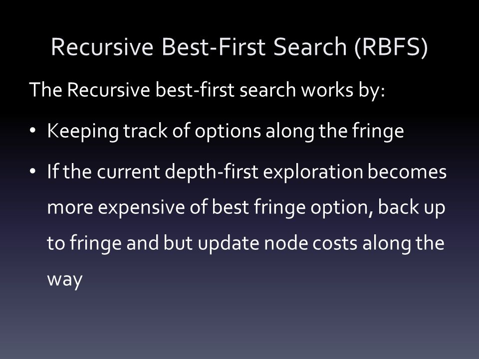 Recursive Best-First Search (RBFS)
