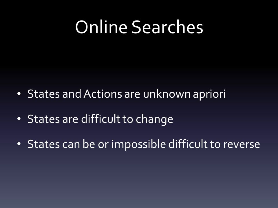 Online Searches States and Actions are unknown apriori