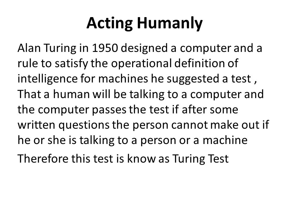 Acting Humanly