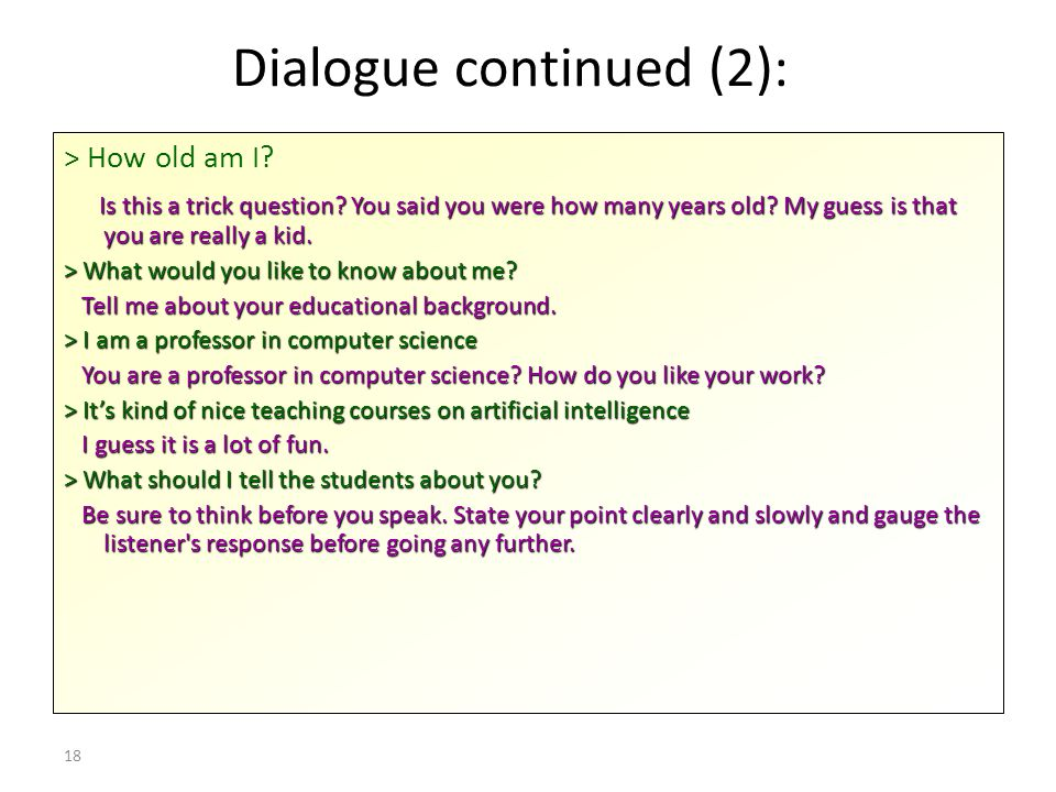 Dialogue continued (2):