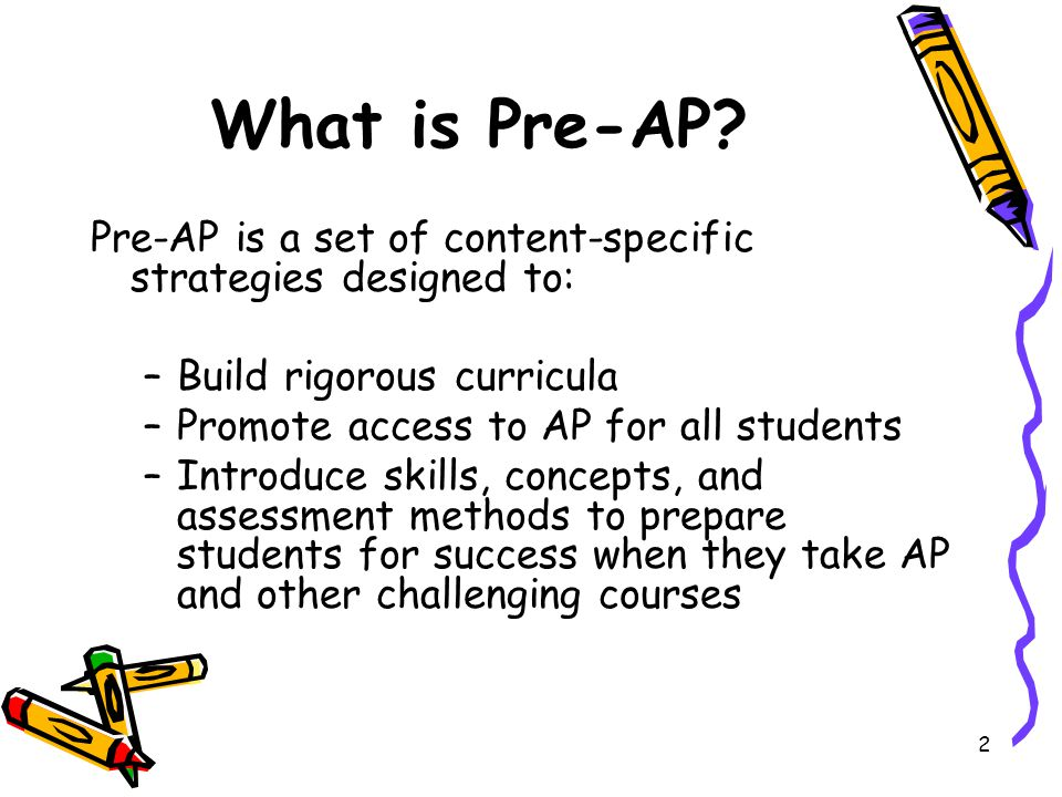 What is Pre-AP Pre-AP is a set of content-specific strategies designed to: Build rigorous curricula.