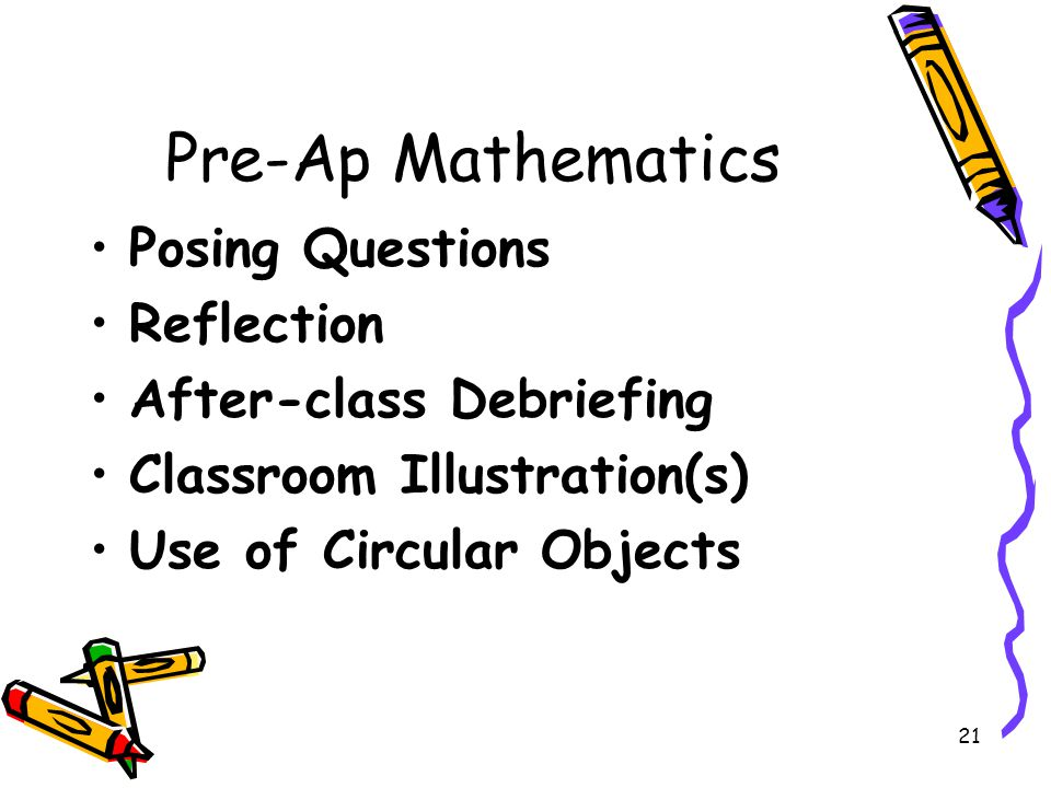 Pre-Ap Mathematics Posing Questions Reflection After-class Debriefing