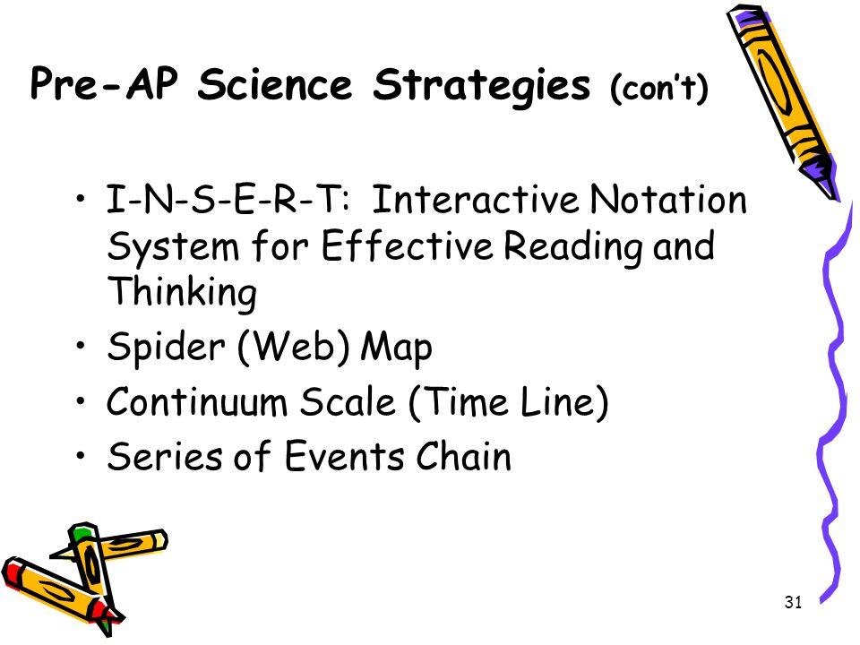 Pre-AP Science Strategies (con't)