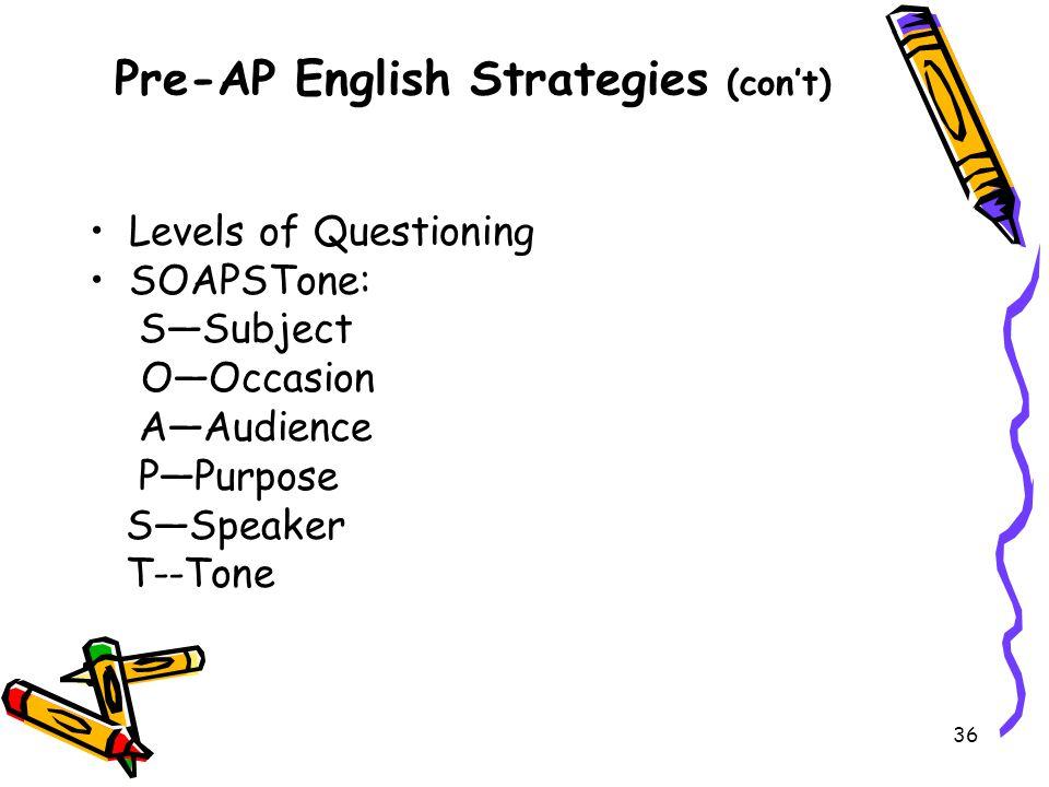 Pre-AP English Strategies (con't)