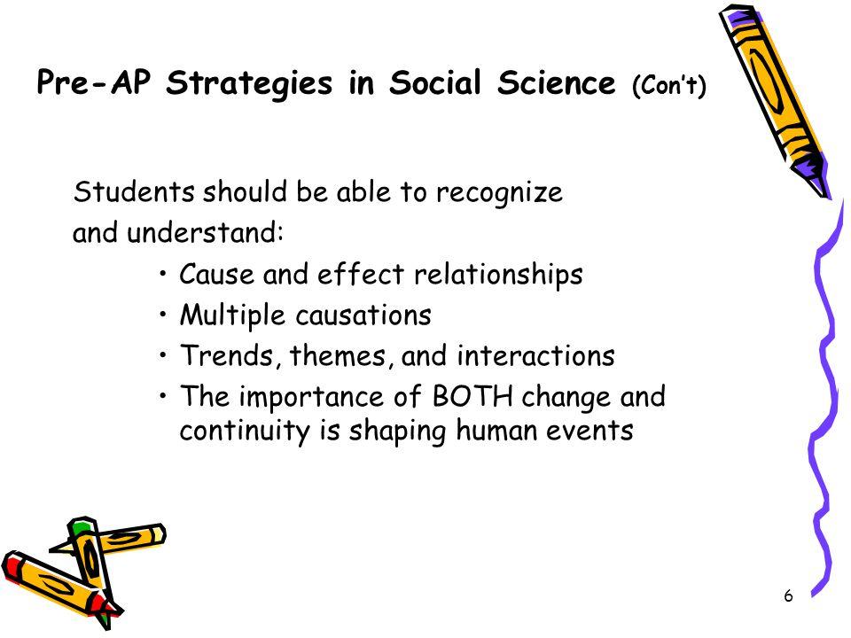 Pre-AP Strategies in Social Science (Con't)