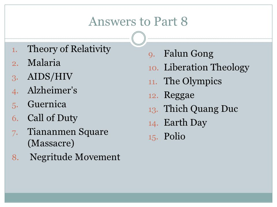 Answers to Part 8 Theory of Relativity Falun Gong Malaria