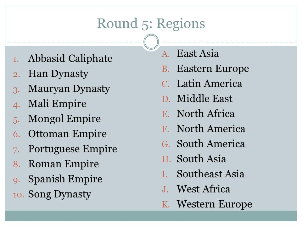 Round 5: Regions East Asia Abbasid Caliphate Eastern Europe