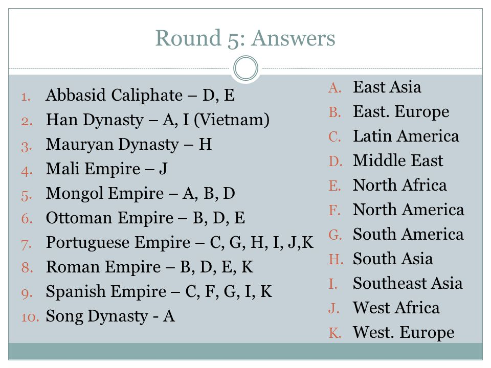 Round 5: Answers East Asia Abbasid Caliphate – D, E East. Europe