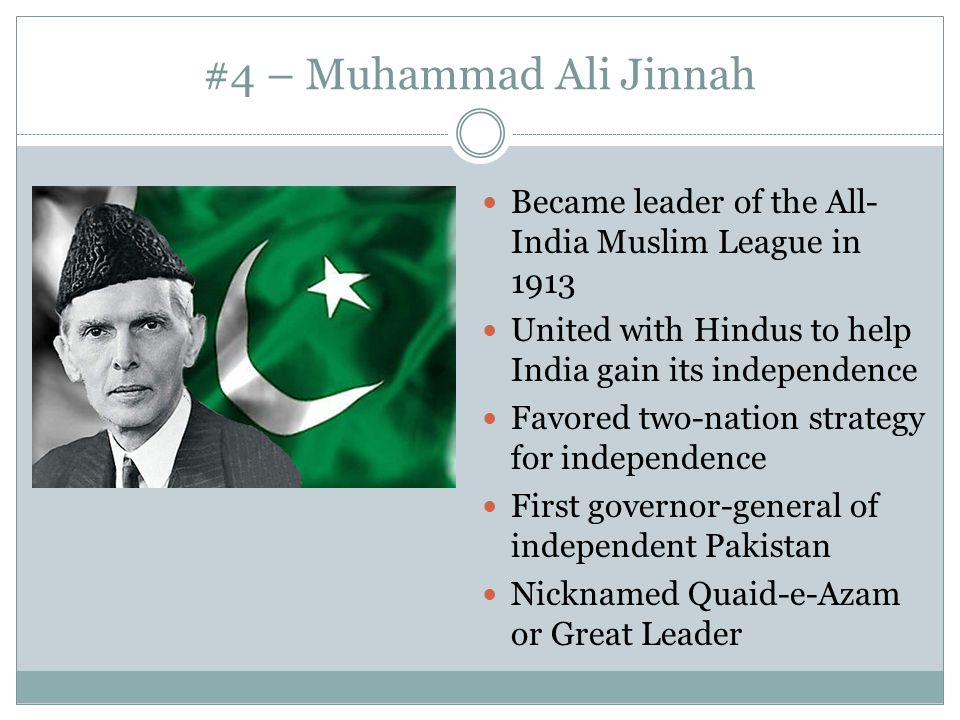 #4 – Muhammad Ali Jinnah Became leader of the All-India Muslim League in United with Hindus to help India gain its independence.