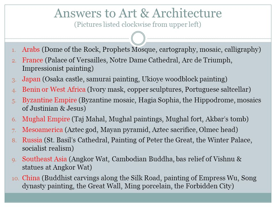 Answers to Art & Architecture (Pictures listed clockwise from upper left)