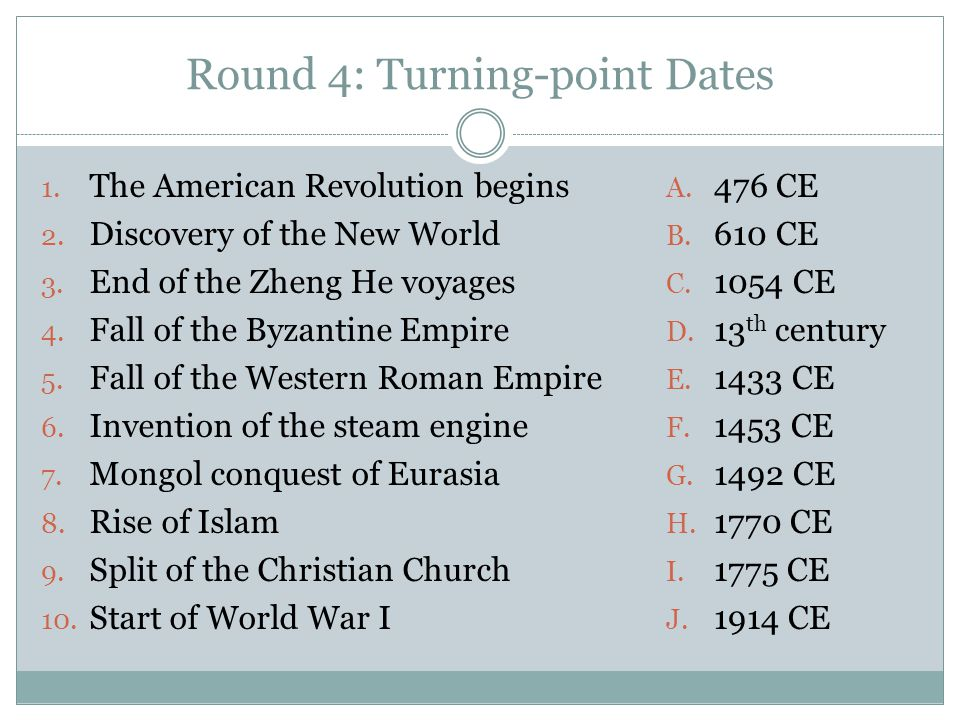 Round 4: Turning-point Dates