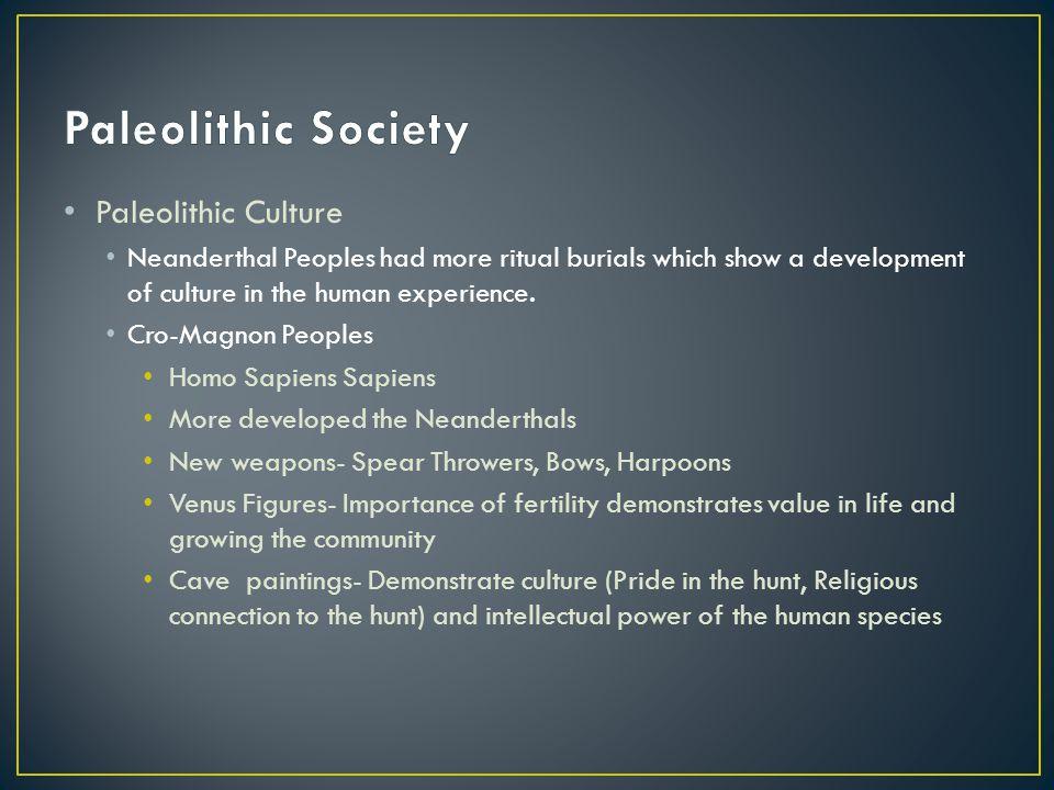 Paleolithic Society Paleolithic Culture