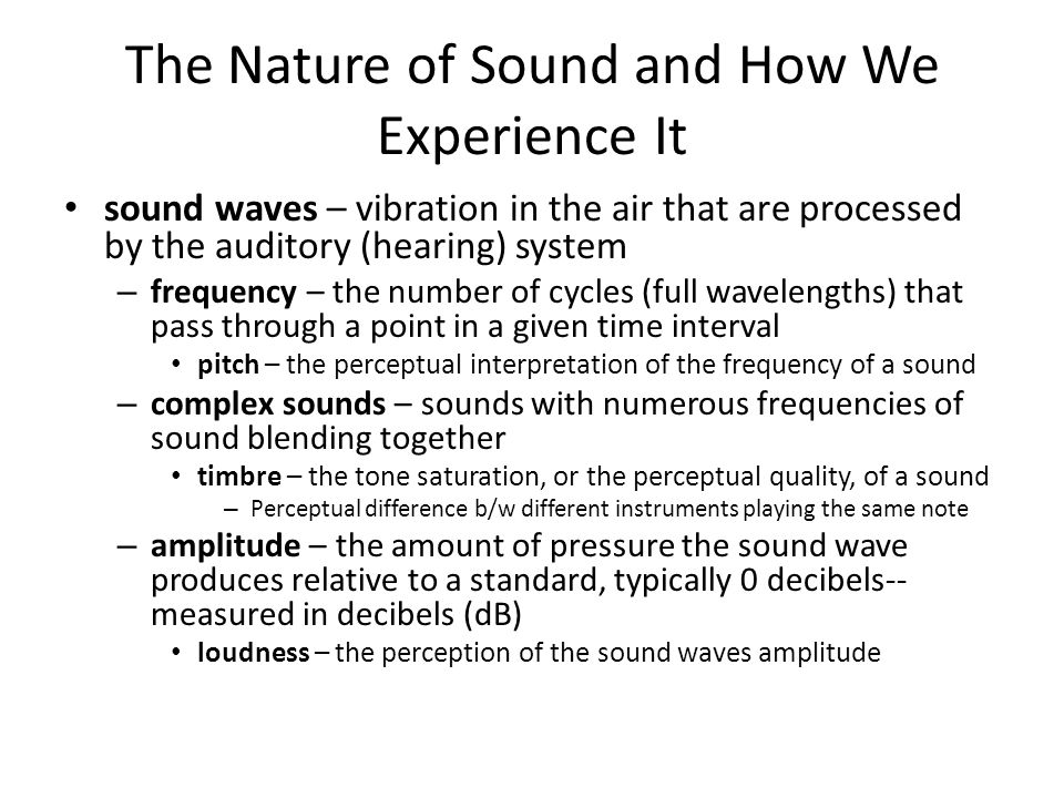 The Nature of Sound and How We Experience It