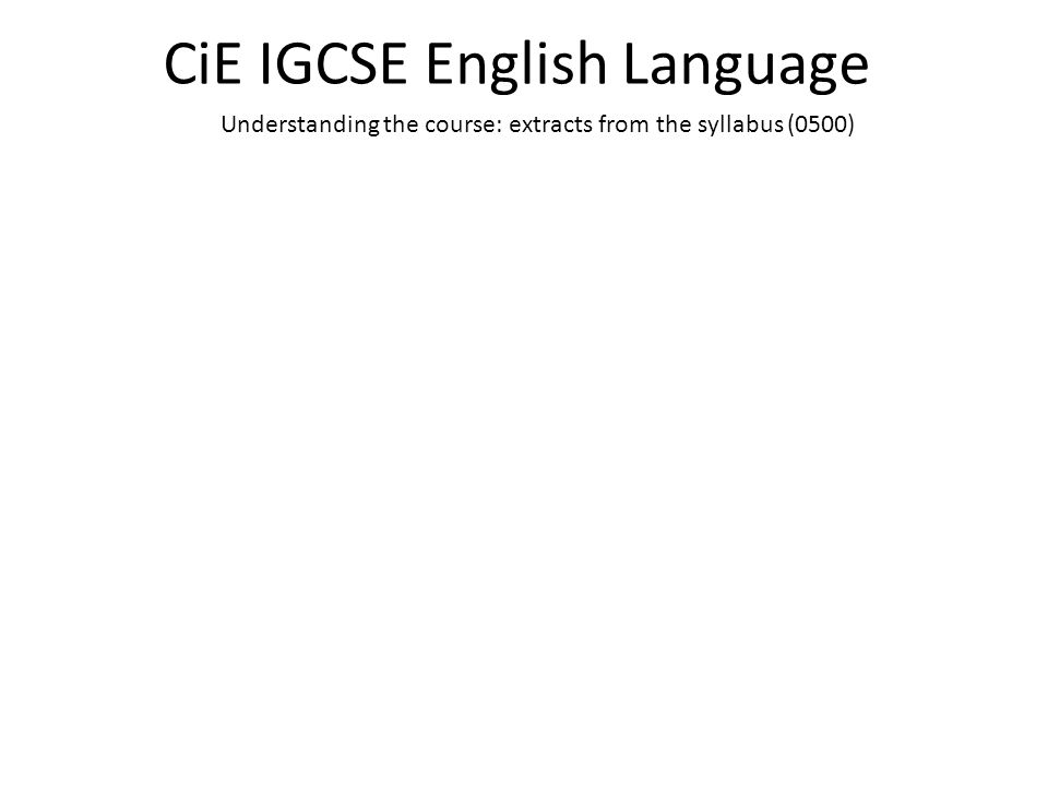 CiE IGCSE English Language