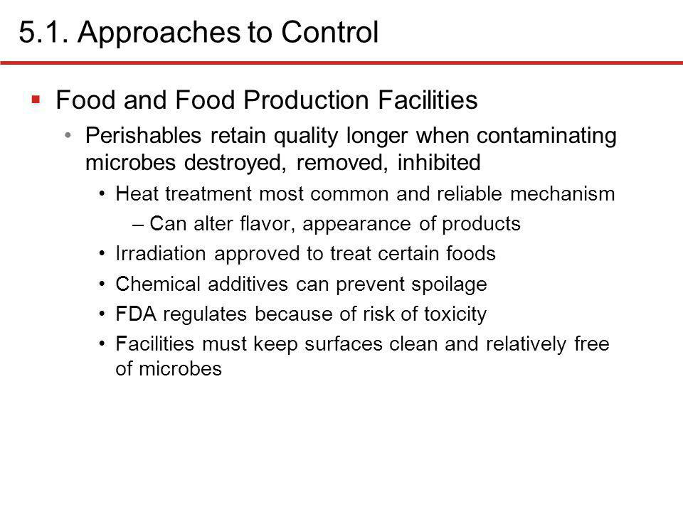 5.1. Approaches to Control Food and Food Production Facilities