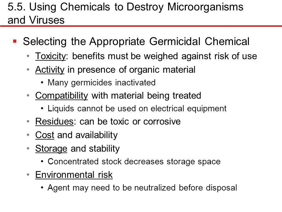 5.5. Using Chemicals to Destroy Microorganisms and Viruses