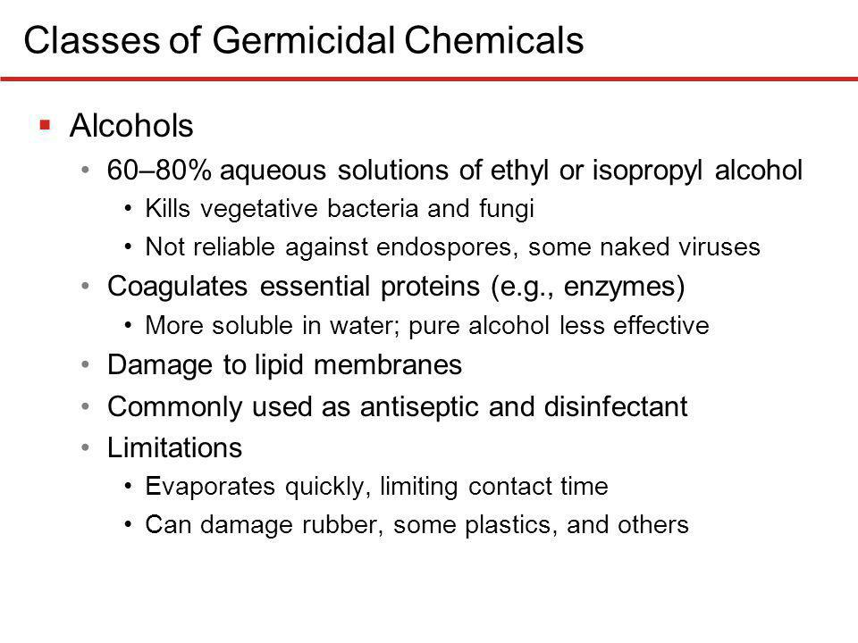 Classes of Germicidal Chemicals