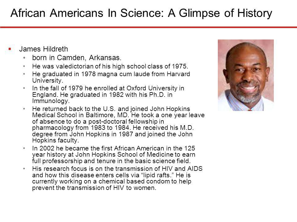 African Americans In Science: A Glimpse of History