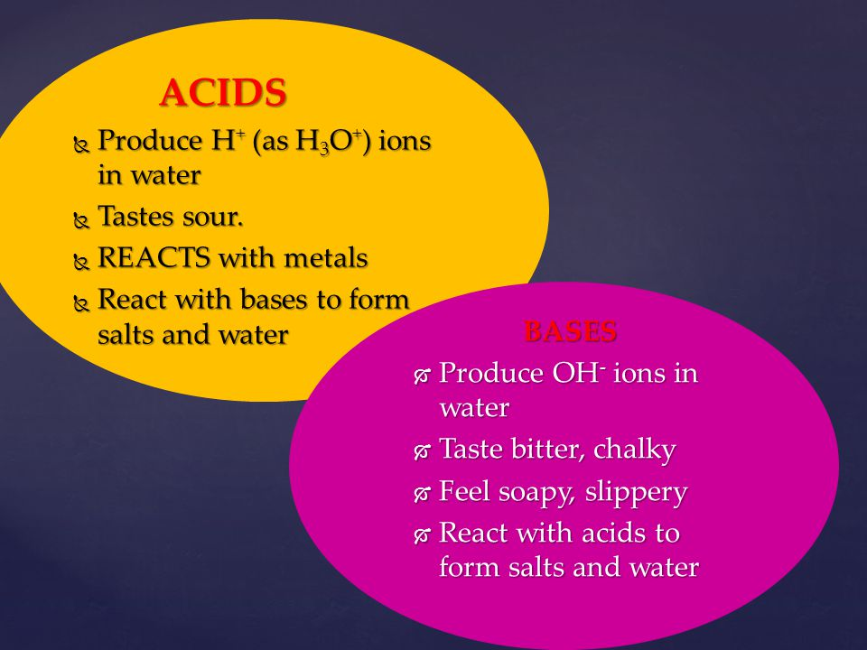 Produce H+ (as H3O+) ions in water Tastes sour. REACTS with metals