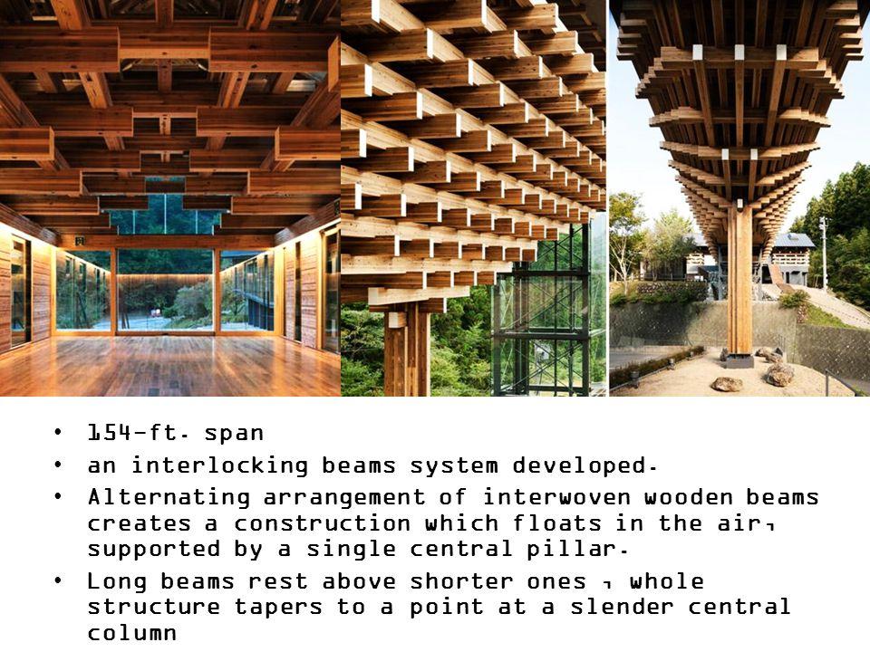 154-ft. span an interlocking beams system developed.