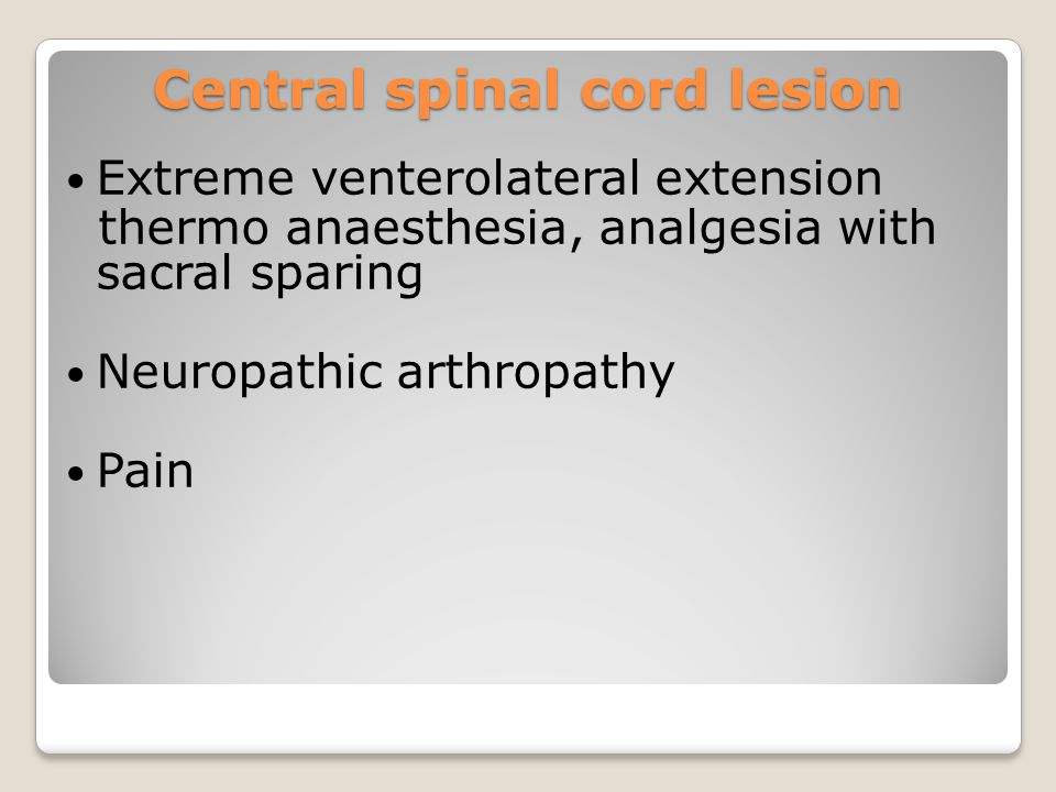 Central spinal cord lesion