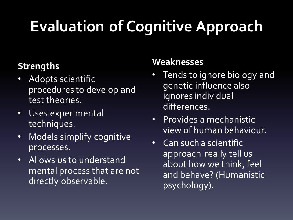 Evaluation of Cognitive Approach