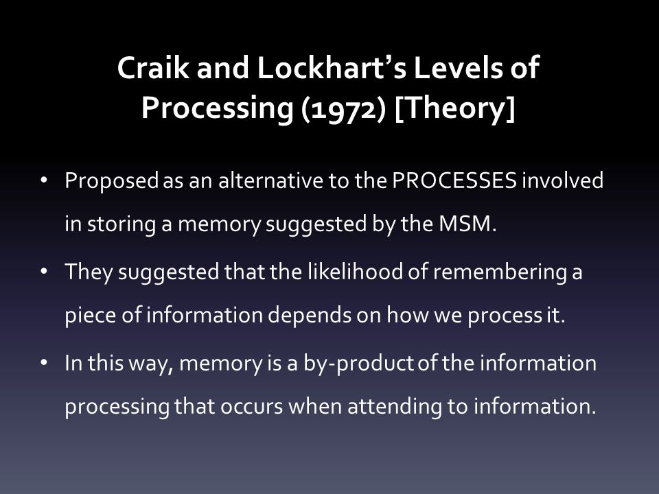 Craik and Lockhart's Levels of Processing (1972) [Theory]